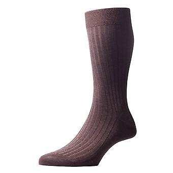 Pantherella Danvers Rib Cotton Lisle Socks - Dark Brown Mix