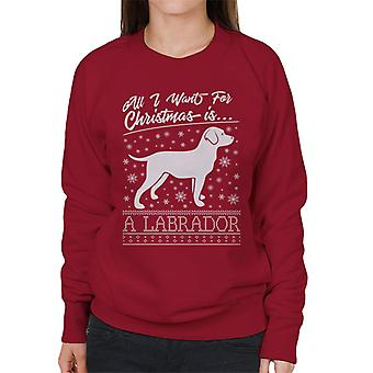 All I Want For Christmas è un Labrador Knit Pattern Felpa donna
