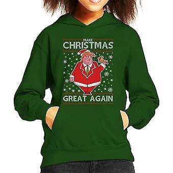 クリスマスを再び偉大にするドナルド・トランプニットパターンキッドのフード付きスウェットシャツ