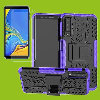 Für Samsung Galaxy A7 A750F 2018 Hybrid Case 2teilig Lila + Hartglas Tasche Hülle Cover Hülle