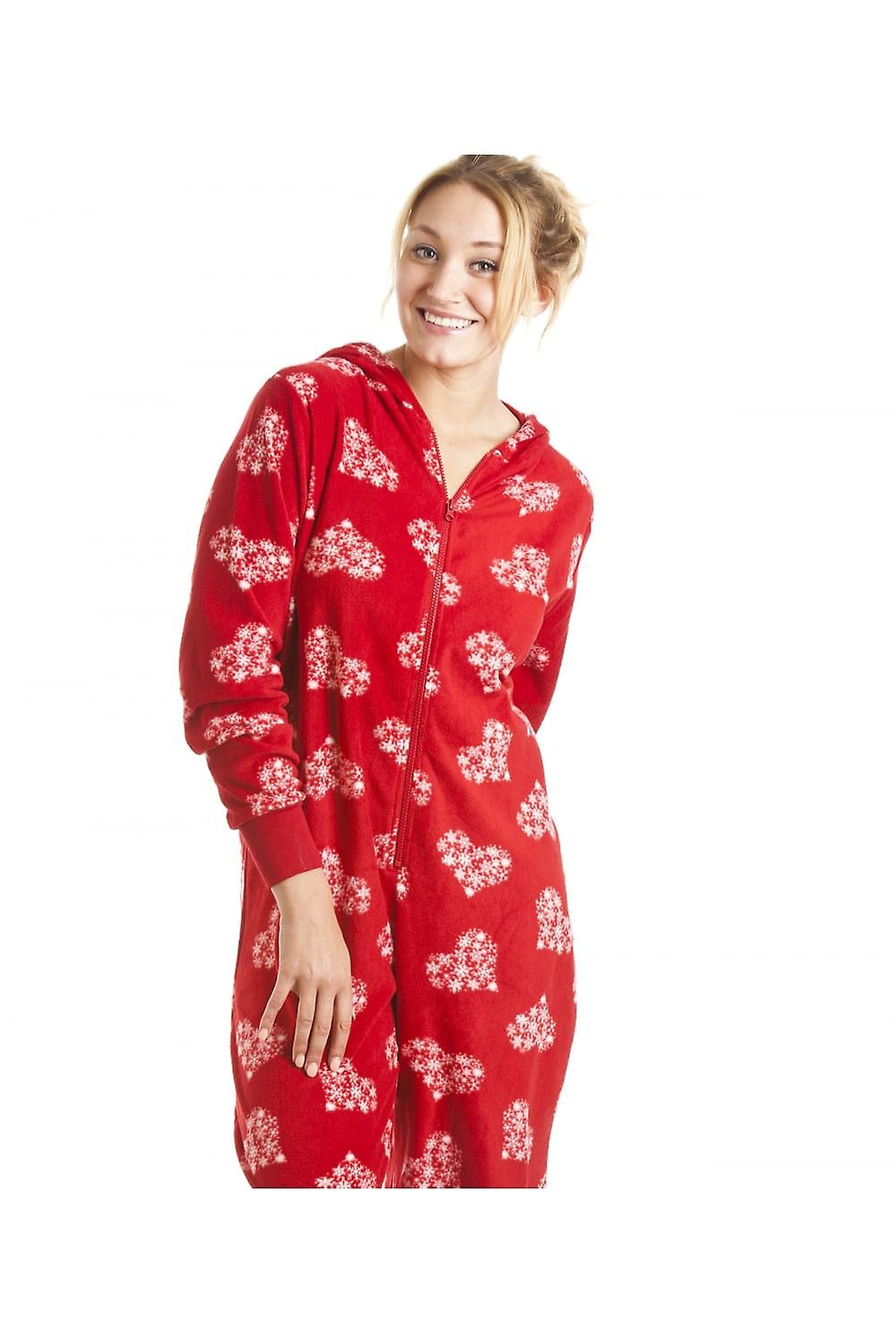 Camille  Womens Ladies Red Love Heart Print All In One Hooded Onesie