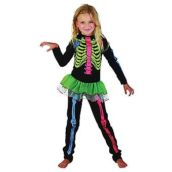 Skeleton Girl Multicoloured Bones, Medium.