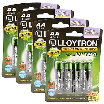 16 x Lloytron Rechargeable Accuultra AA Ni-MH Batteries 2700mAh