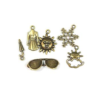 Packet 6 x Steampunk Bronze Tibetan 19-29mm Weather Charm/Pendant Set ZX17680