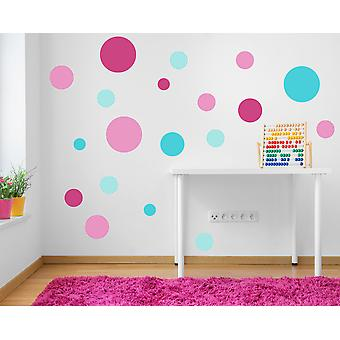 Full Colour Set of 19 Pink and Turquoise Polka Dot Spots Wall Sticker