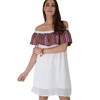 LMS Off The Shoulder White Double Layer Dress With Stripe Frill