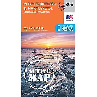 OS Explorer mapa ativo (306) Middlesbrough e Hartlepool, Stockton-on-Tees e Redcar (Explorer OS mapa ativo)