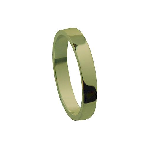 18ct Gold 3mm plain flat Wedding Ring Size P