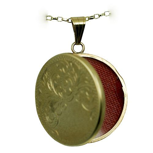 9ct Gold 29mm flat round half hand engraved Locket with a belcher chain
