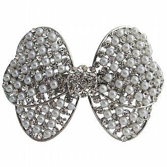Bridal Hair Barrette White Pearls & Simulated Diamond Bow Hair Clip