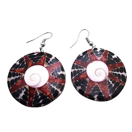 All occasions Gift Adorable Round Shiva Eye Natural Shell Earrings