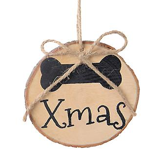 TRIXES 2PC Round Wooden Dog Bone Xmas Decorations Gift Tag with Twine for Pets