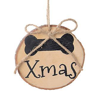 TRIXES 2st runda trä hund ben Xmas dekorationer gåva etikett med snöre för husdjur