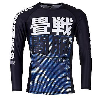 Tatami Fightwear Kinder wesentliche Camo Langarm Rash Guard schwarz/blau