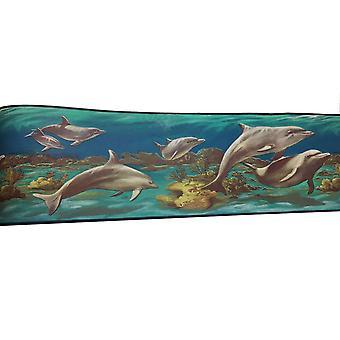 Dolphin Wallpaper Border Double Roll 10m Textured Sea Life Ocean Aqua Plants