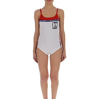 Prada White/red Synthetic Fibers Bodysuit