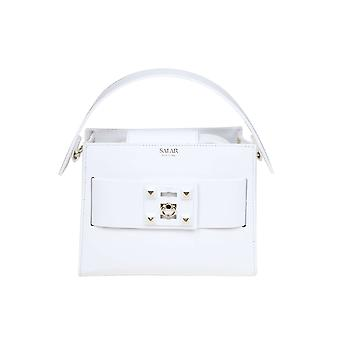 Salar White Leather Handbag
