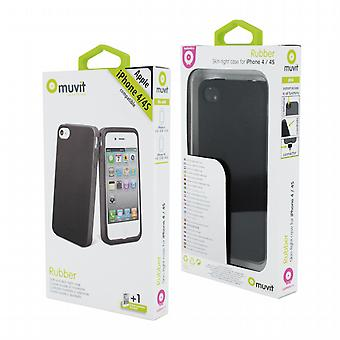Zwarte siliconen beschermhoes + Screen Protector Apple iPhone 4/4S Muvit