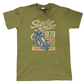 T-shirt Mens do scooter Racer | Vintage retrô intemporal e icônico Seminal memorável | Moto Scooter Street Cafe Racer Rider Sidecar | Motos presente ele pai