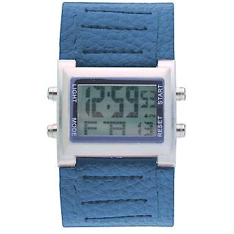 Retro-Boys / Mens Digital Chronograph blau Pu breit Armband Sportuhr RETRO-9 b