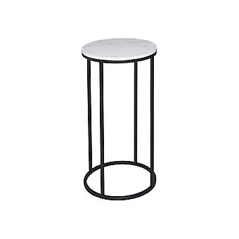 Gillmore Space White Marble And Black Metal Contemporary Circular Lamp Table