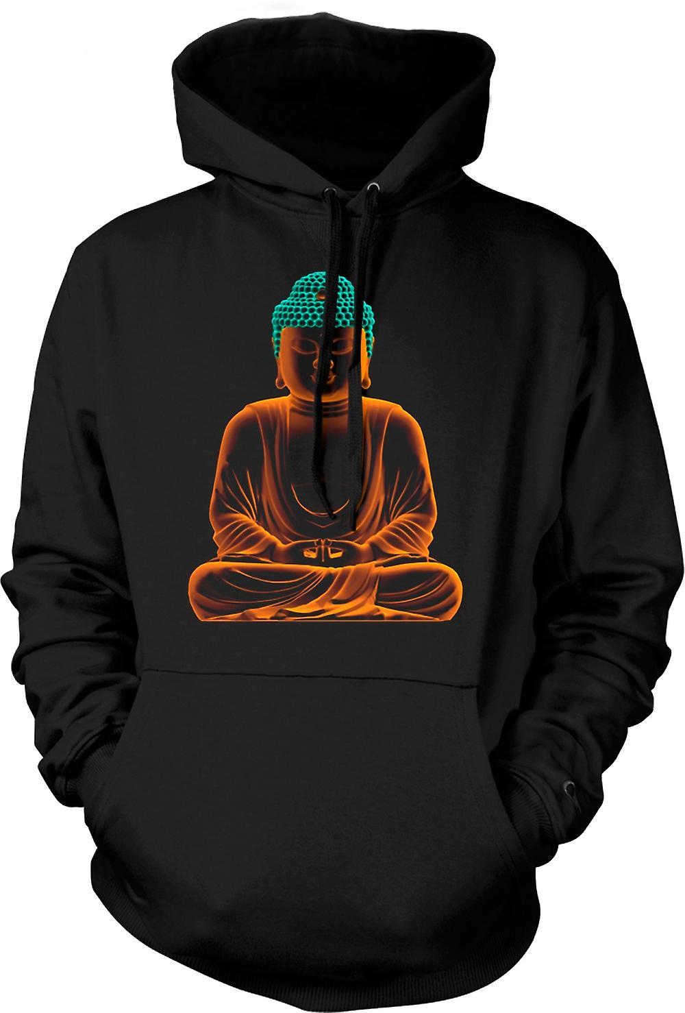Mens Hoodie -  Serene Golden Buddha - Spiritual