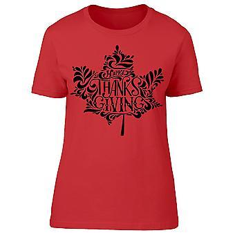 Carta de Acción de Gracias Hoja Camiseta Mujeres's -Imagen por Shutterstock