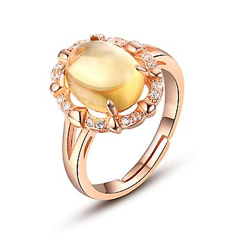10K Rose Gold Plated Simulated Citrine Resizable Ring