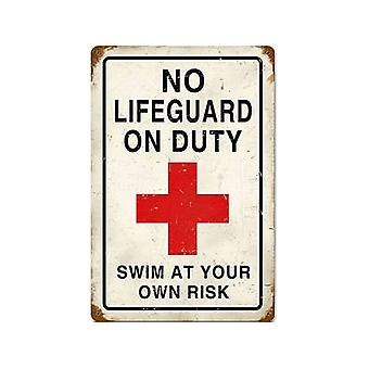 No Lifeguard On Duty Rusted Metal Sign 460Mm X 300Mm