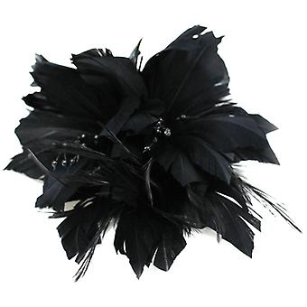 Black Feather en Beads Corsage Hair tovenaar Broche Accessory