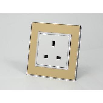 I LumoS AS Luxury Gold Mirror Glass  Single Unswitched Wall Plug  13A UK Sockets