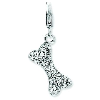 Sterling Silver Rhodium-plated Fancy Lobster Closure Enameled 3-d Dog Bone With Lobster Clasp Charm