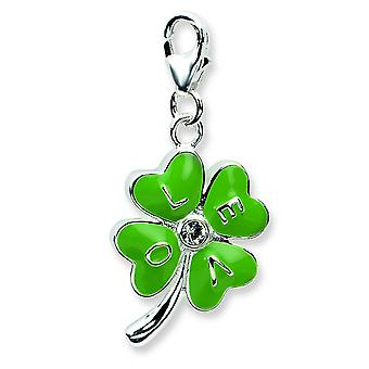 Sterling Silver 3-d Enameled 4 Leaf Cloverw Lobster Clasp Charm - 2.7 Grams - Measures 31x13mm