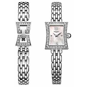Rotary Ladies Slimline Stainless Steel Quartz & Bracelet Set LB05058/41/SET Watch