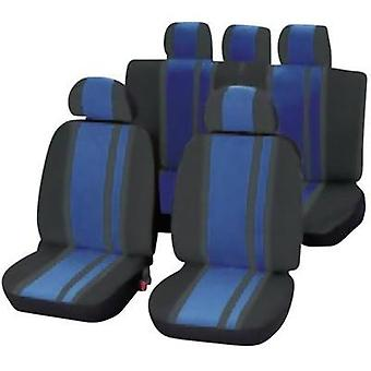 Seat covers 14-piece Unitec 84959 Newline Polyester Blue, Black