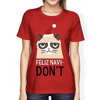 فيليز Navidon't هدية عيد الميلاد القميص الأحمر للمرأة لعشاق القط