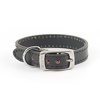 Heritage Diamond Leather Collar Black Small 16mm X26-36cm
