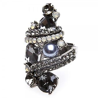 Camille Womens Ladies Fashion Jewellery Dark Grey And Silver Adjustable Vintage Diamante Ring