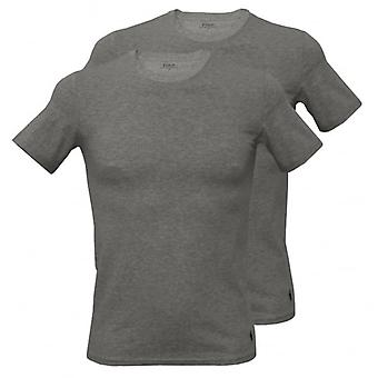 Polo Ralph Lauren manches courtes 2-Pack-col T-Shirts, Heather Grey avec Marine