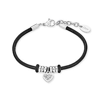 s.Oliver jewel children and youth black leather bracelet stainless steel heart 2018512