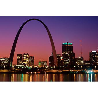St Louis skyline and Arch at night St Louis Missouri Poster Print by Panoramic Images