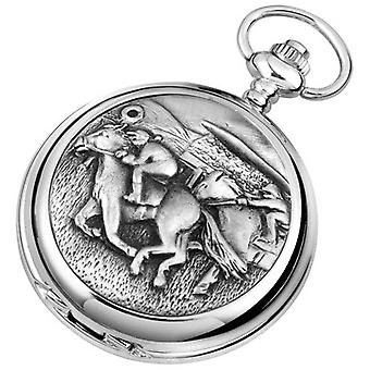 Woodford Horse Racing Chrome Plated Double Full Hunter Skeleton Pocket Watch - Silver