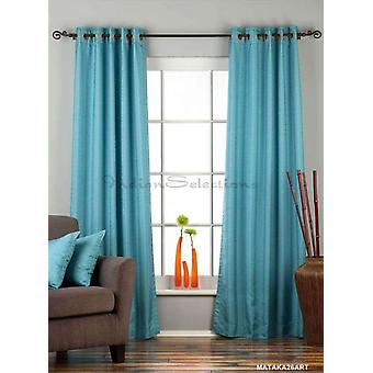 Turquoise Ring Top Matka Raw Silk Curtain / Drape / Panel - Piece