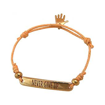 Engraving - NEVER GIVE UP - rose - bracelet - gold plated - bright coral - rose