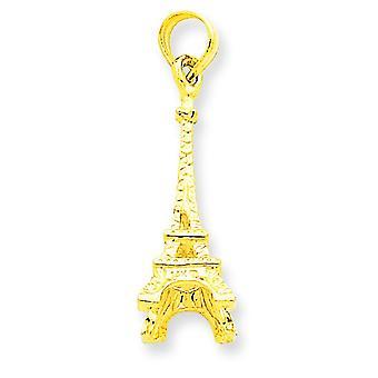 Amarillo de 14k oro sólido pulido 3-Dimensional Eiffel torre encanto - 1,4 gramos - medidas 23x7mm