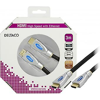 DELTACO HDMI cable v1.4 19-pin HA-HA 4 k Ethernet 3D nylon 3 m black