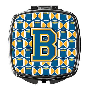 Carolines Treasures  CJ1077-BSCM Letter B Football Blue and Gold Compact Mirror