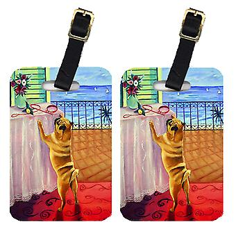 Carolines Treasures  7027BT Helping Himself Pug Luggage Tags Pair of 2