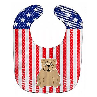 Carolines Treasures  BB3119BIB Patriotic USA English Bulldog Fawn Baby Bib