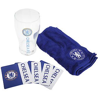 Chelsea FC Official Wordmark Mini Football Bar Set (Pint Glass, Towel & Beer Mats)